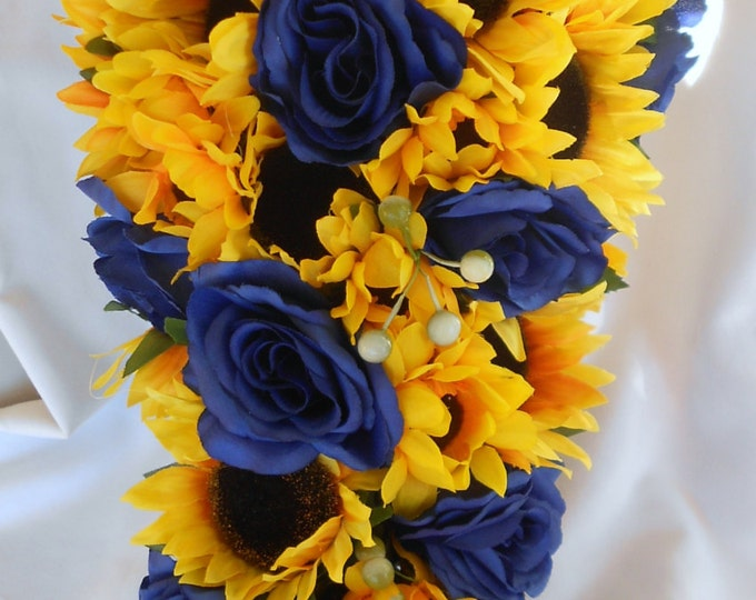 Royal blue roses and sunflowers 2 pieces wedding set small free toss