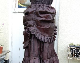 Steampunk Bustle in Dark Brown Crinkled Taffeta