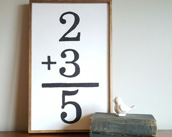 Math Flashcard Sign, Flashcard Sign, Family Wall Art, Vintage Flashcard Sign, Sign, Wall Art