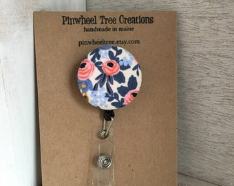 Rifle Paper Co. Floral Badge Reel,  Retractable Badge Holder, Pink Roses Fabric Swivel ID Name Holder, Student Nurse Teacher Coach Gift