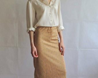 90s Vintage Floral Midi Skirt