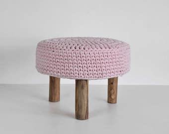 Crochet Pink Round Pouf - Pouf Ottoman - Footstool- Floor Cushion - Nursery Pouf - Floor Pouf - Nursery Decor