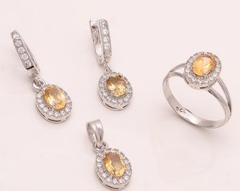 925 Solid Sterling Fine Silve CITRINE  Stone Ring & Sets