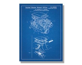 Air Intake for Automotive Vehicles screen print decoration technical design blueprint schematic retro educational cool screenprint