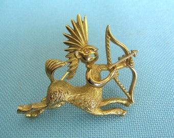 Gold tone Sagittarius Centaur Archer Brooch