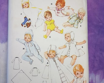 Butterick 5758 Baby Layette 60s Vintage Sewing Pattern.  Everything you need in 1 sewing pattern