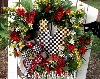 SALE, Rooster Wreath, Black & White Checkered French Country Rooster,  Floral Grapevine, Country Farmhouse Wreath, Rooster Kitchen Decor,