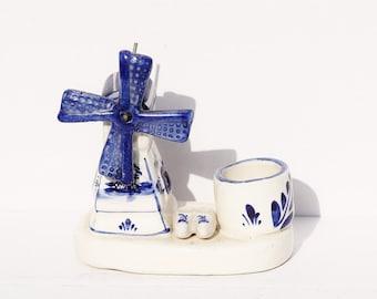 Blue Windmill, Delft Windmill, Royal Delft, Miniature Windmill, Holland Windmill, Dutch Porcelain
