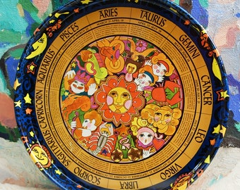 Fascinating 1962 (Peter Max style) Large Astrology Serving Tray!