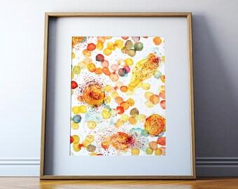 Degranulating Mast Cell Watercolor Art Print - Allergy Histology Art Print - Blood Cell Art