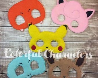Pokemon inspired felt masks, halloween masks, pretend play, childrens costume masks, made to order, party favors, birthday, gifts