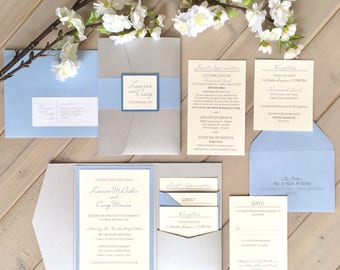 Pale Blue and Silver Wedding Invitations, Dusty Blue and Silver Invitations, Blue and Gray Wedding Invitations, Pocket Wedding Invitations
