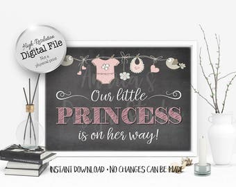 Our Little Princess Is On The Way Sign, Baby Shower Sign, Baby Shower Decor, Baby Girl Sign, Instant Download, Digital Files
