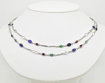 """Sterling Silver 25.00cttw Sapphires, Rubies & Emeralds 34"""" Necklace 15.5g"""