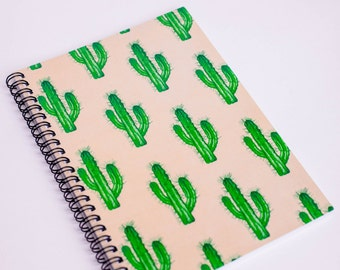 Cactus Notebook - A5 Notebook - Lined Spiral Notebook - Diary - Gift Ideas - Quirky Stationery - Notepad - Sketchbook - Small Notebook