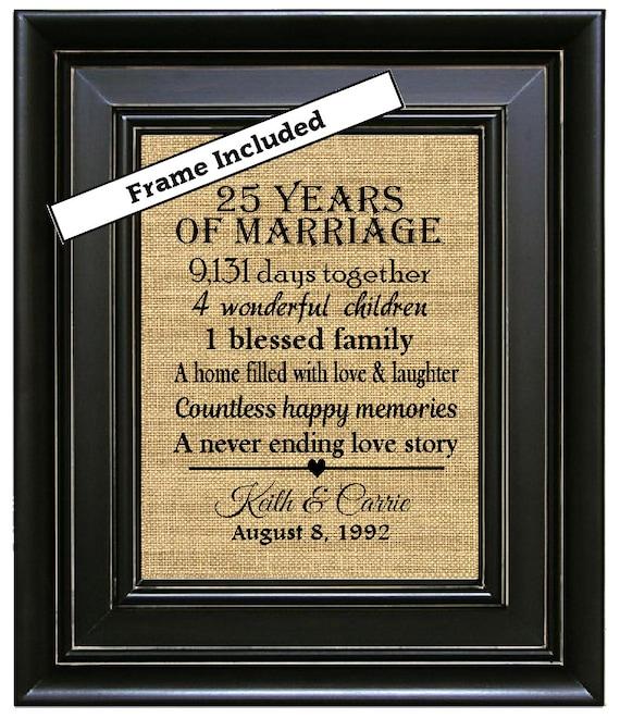 25 Wedding Anniversary Gift: FRAMED 25th Anniversary Gift/25th Wedding By BurlapNGlass