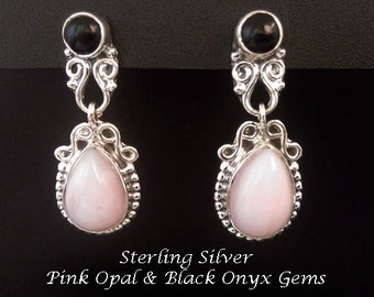 Stud Earrings, Pink Opal: Gorgeous 925 Sterling Silver Stud Earrings with Pink Opal and Black Onyx Gemstones | Studs, Stud Earrings 172