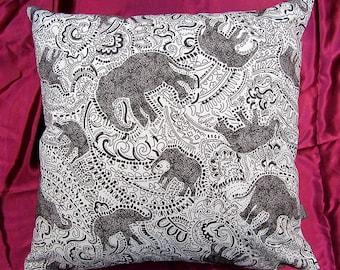 Elephant Cushion Pillow - WHITE BACK VERSION - beautiful paisley print