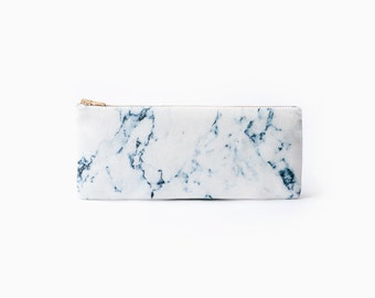 White marble organic coton pencil case, zipper pouch, white and blue, print organic fabric, marble pencil pouch, back to school