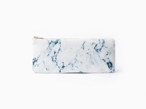 White Marble Organic Coton Pencil Case Zipper Pouch White