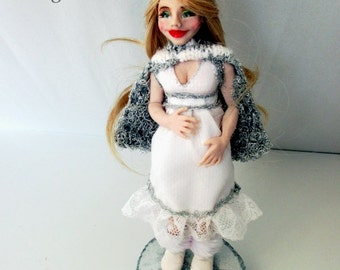 Unique handmade OOAK polymer clay doll-pregnant