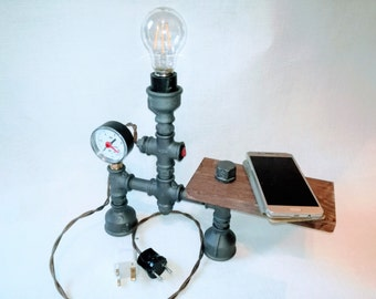 Industrial Lighting - Steampunk Lamp - Table Lamp - Edison Light - Vintage Light - Pipe Lamp - Bedside Lamp - Rustic Lighting