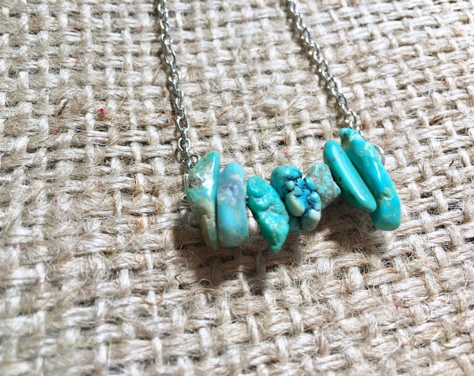 Raw Turquoise Necklace, Turquoise Necklace, Raw Stone Necklace, Bar Necklace, Gemstone Necklace, December Birthstone, Bar Chip Necklace