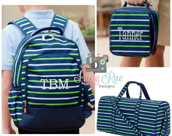 Personalized Striped Boy Backpack, duffel bag and backpack, preschool, Monogrammed, School Age Backpack, duffel bag, lunchbox, lunch bag