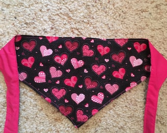 Valentine bandana scarf for dog cat puppy or kitten in extra small, small, medium, large, extra large