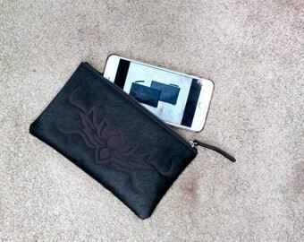 Cowhide Clutch, Phone Pouch, Cowhide Phone Pouch, Leather Phone Pouch, Mobile Pouch, Black Clutch, Laser Cut Cowhide
