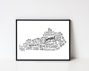 Hand lettered DANVILLE Kentucky Word Art Print // 8x10