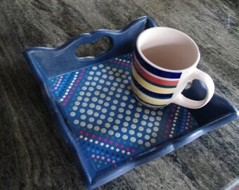 Square blue wooden tray-7 inch.-handmade pointillism-dinnerware-serving trays-dessert tray-foodservices tray-decorative trys-green-christmas