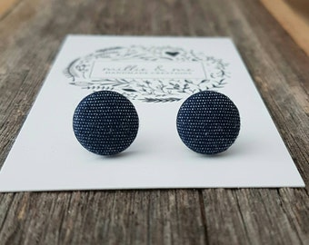 Denim Fabric earrings/ fabric buttons/ denim fabric/ denim/ gift for her/ earrings