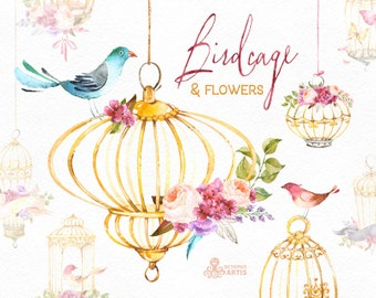 Birdcage & Flowers. Watercolor Floral clipart, birds, roses, hydrangea, greetings, cage, diy, purple, gold, flowers, valentines, wedding