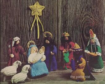Nativity Scene Knitting Pattern Vintage Christmas Decoration Creche Jesus Mary Joseph PDF Instant Digital Download SKU 40-1