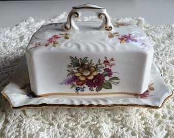 Hammersley & Co Bone China Butter Dish, Pretty Floral Pattern