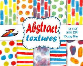 Sale Abstract Digital Paper commercial use blue red yellow watercolor digital paper abstract pattern modern digital background Brush Strokes