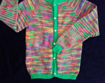 Neon Girls Cardigan Sweater - Hand Knit
