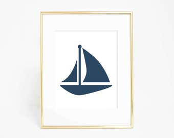 Nautical Artwork, Nautical Decor, Navy Art Print, Digital Printable, Printable Art, Sailboat Wall Art, Navy Blue Wall Art, Sail Boat Print