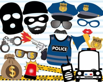 Printable Police Photo Booth Props, Cops and robbers Photo Booth Props, Police Birthday Party Photobooth Props, Police Car, Thief, 0402