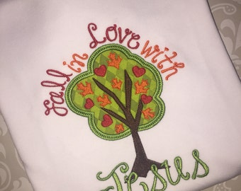 Fall in love with Jesus applique fall tee