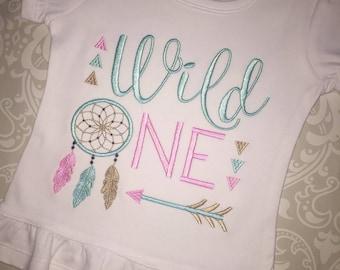 Wild One embroidered first birthday ruffle tee shirt, girls first birthday shirt, dream catcher feathers arrow birthday apparel,native theme