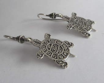 Sterling Silver Turtle Earrings Mayan Tribal Jewelry Made in Montana Gift for Teens Gift for Women Tortoise Earrings Mayan Turtle Earrings