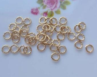 50 pcs, 4mm, 20 gauge, 14K Gold Filled SPARKLE open jump rings
