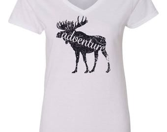 Adventure Moose Camping Womens Short Sleeve V Neck T - Shirt Top