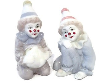 Vintage Porcelain Clowns, Set of 2