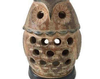 Vintage Ceramic, Stone-Like Owl Candle Holder, Pottery Oil or Incense Burner, Made in Japan