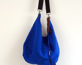 Bag in red or electric Blue Suede satchel