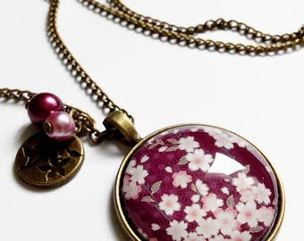Necklace * Cherry Blossom * Spring Japan small Burgundy pink sakura flowers, glass cabochon