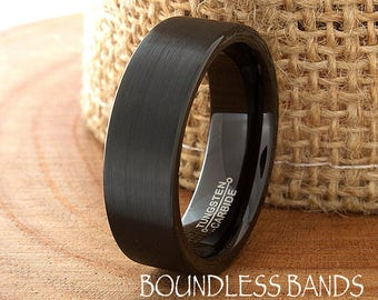 Black Tungsten Wedding Band Ring Pipe Cut Brushed Tungsten Wedding Band Black Wedding Band Mens Engraving Anniversary Brushed Mens 7mm New